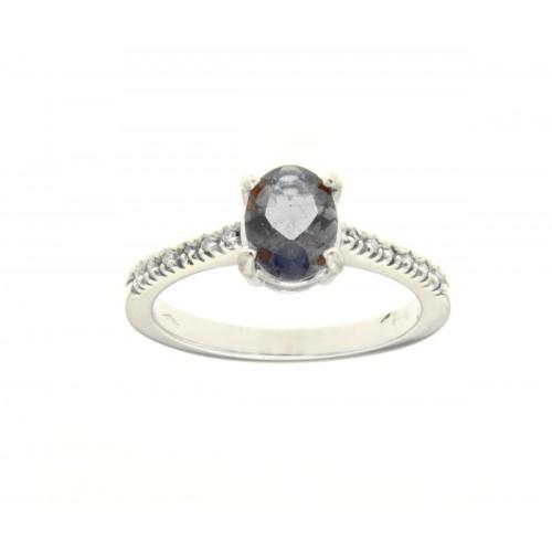 Anello con iolite carati 0,94 e diamanti ct 0,06 G-VS1