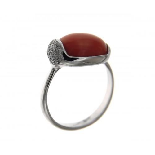 Anello corallo con diamanti carati 0,12 G-VS1