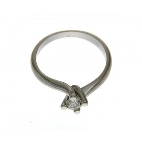 Anello solitario Valentino oro bianco diamante carati 0.31 G-VS1