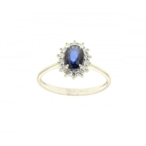 Anello con  zaffiro blu ct 1.06 e diamanti ct 0.20 g-vs1