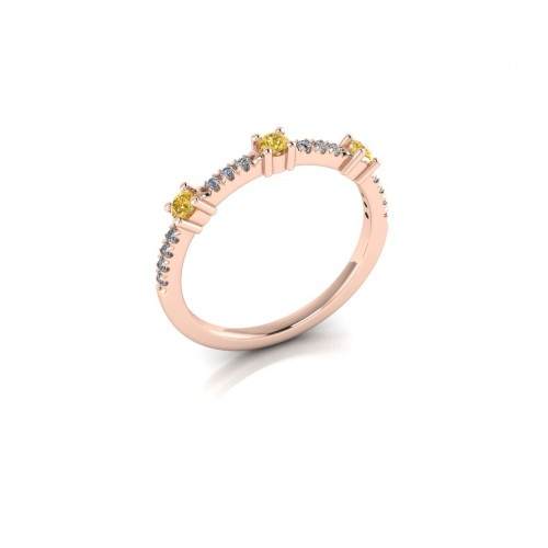 Anello fedina in oro rosa con diamanti fancy color gialli e bianchi ct 0.28