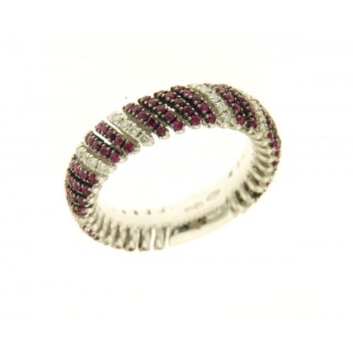 Anello con rubini carati 0,97 diamanti carati 0,29 G-VS1