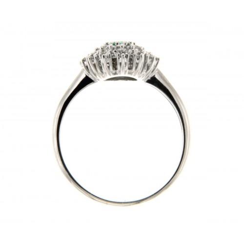 Anello con smeraldo ovale carati 0.45 diamanti ct 0.45 g-vs1