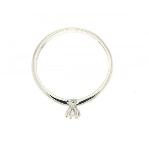 Anello solitario oro bianco diamante HRD carati 0.09 D-VS1