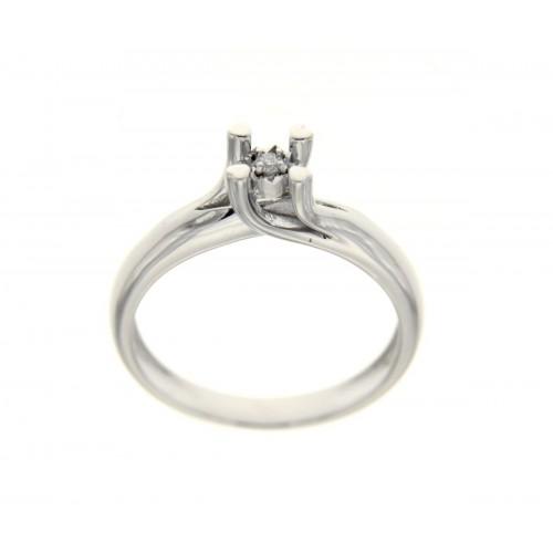 Anello solitario quattro griffe oro bianco diamante carati 0,03 g-vs1