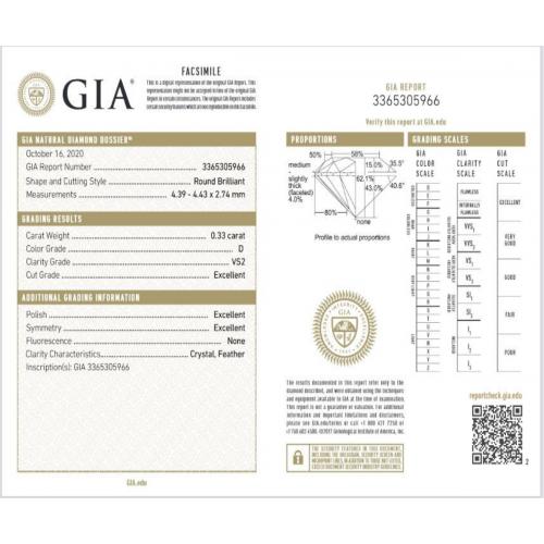 Anello solitario valentino diamante GIA ct 0.33 D-VS2