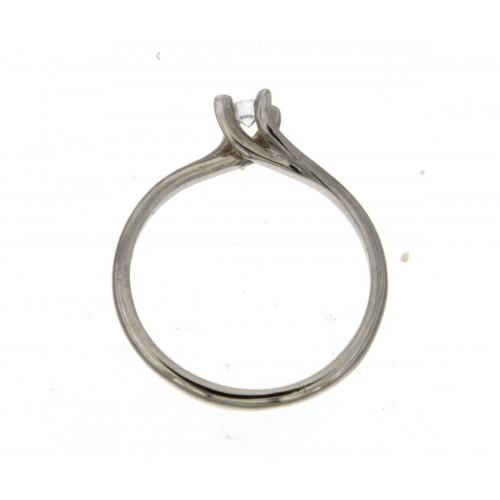 Anello solitario Valentino oro bianco diamante HRD carati 0.11 E-VS2