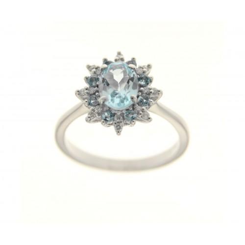 Anello con topazio azzurro carati 1.90 e diamanti carati 0,12 G-VS1