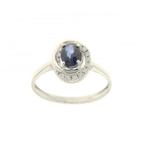 Anello con  zaffiro blu ct 1.08 e diamanti ct 0.08 g-vs1
