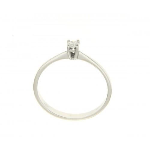Anello solitario oro bianco diamante HRD carati 0.08 D-VS1