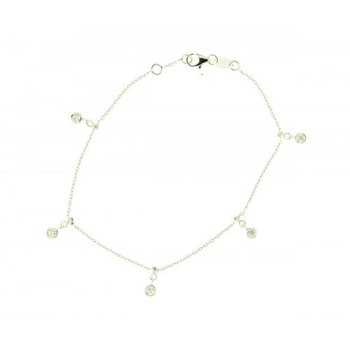 Bracciale in oro bianco con ciondoli diamanti carati 0.15 G-VS
