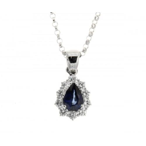 Collana zaffiro blu ct 0,74diamanti carati 0,40 G-VS1