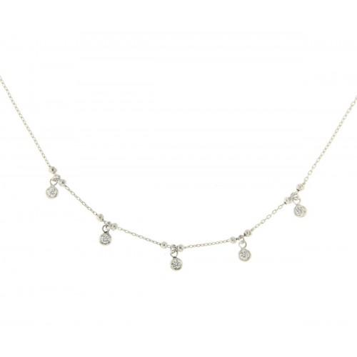 Collana in oro bianco con ciondoli diamanti carati 0.18 G-VS1