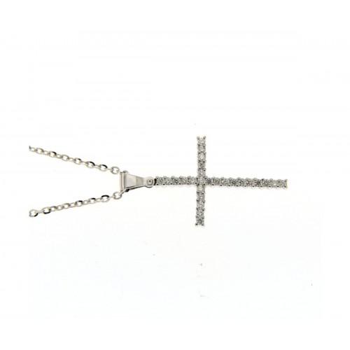 Collana croce diamanti carati 0,31 G-VS1