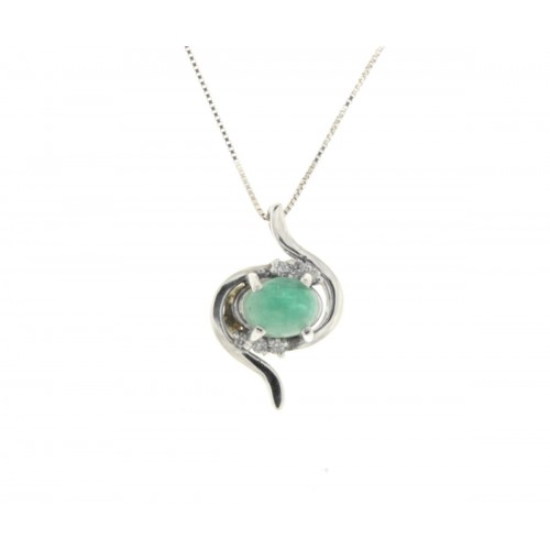 Collana smeraldo carati 0,35 diamanti carati 0,04 G-VS1