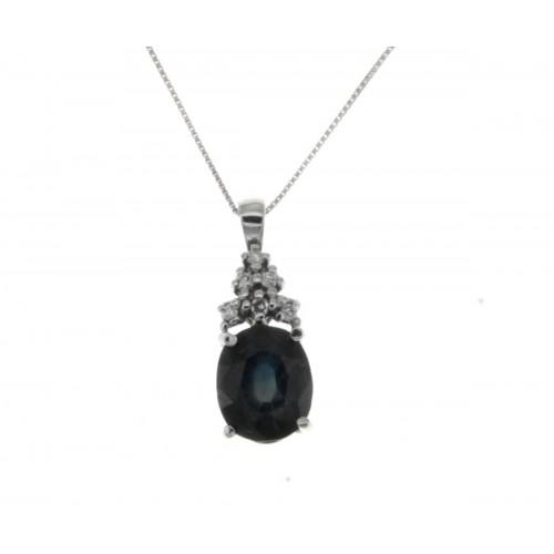 Collana zaffiro blu ct 1.60diamanti carati 0,06 G-VS1