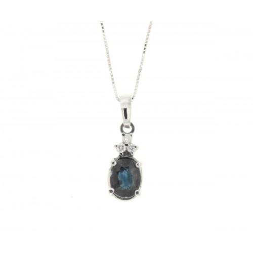 Collana zaffiro blu ct 0,70 diamanti carati 0,06 G-VS1