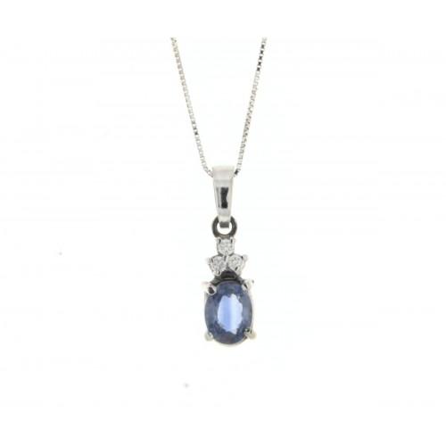 Collana zaffiro blu ct 0,40 diamanti carati 0,03 G-VS1
