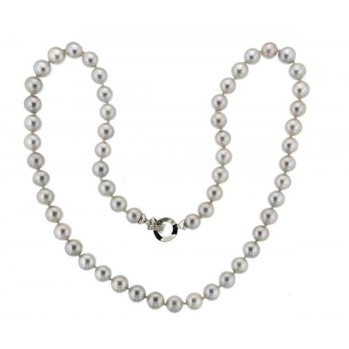 Girocollo di perle grigie oro e diamanti Ct.0,03 G-VS1