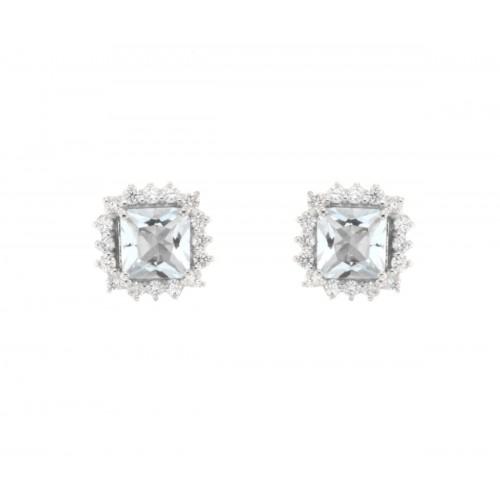 Orecchini con acquamarina princess celeste ct 1.07 e diamanti ct 0,32 G-VS1