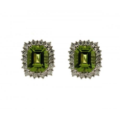 Orecchini con peridoto e diamanti ct 0.42 G-VS1