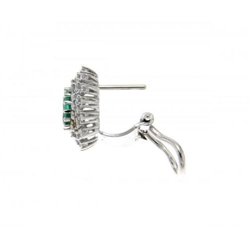 Orecchini con smeraldi ct 0.93 e contorno di diamanti ct 0.90 G-VS1