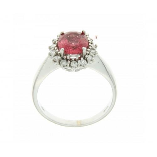 Anello con rubellite carati 1,58 diamanti carati 0.42 G-VS1