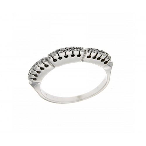 Anello veretta a fantasia con diamanti carati 0,07 G-VS1