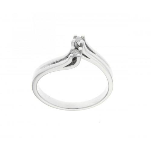 Anello contrarie oro bianco diamanti carati 0,08 G-VS1