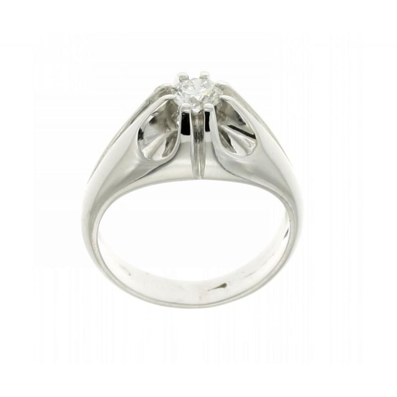 Anello solitario per uomo in oro bianco diamante carati 0,40 G-VS1
