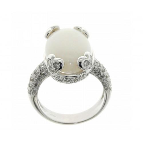 Anello con opale carati 6,50 diamanti ct 0,80 G-VS1