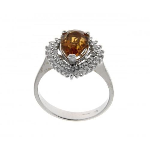 Anello con topazio giallo diamanti carati 0,45 G-VVS2