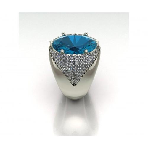 Raffinato e prepotente anello a fascia in oro bianco topazio azzurro carati 9 diamanti carati 1.20 G-VS1