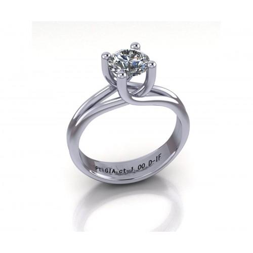 Anello solitario in platino con diamante GIA 1 carato D-IF
