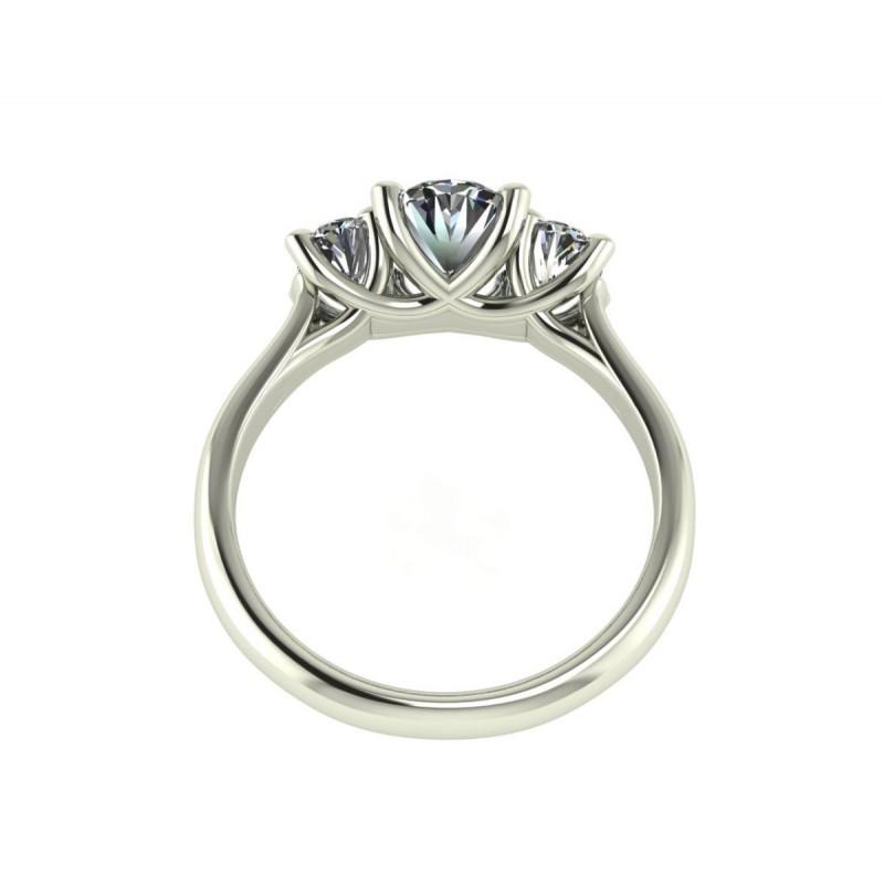 Anello trilogy per donna oro bianco diamanti ovali certificati GIA carati 2.10 G-IF