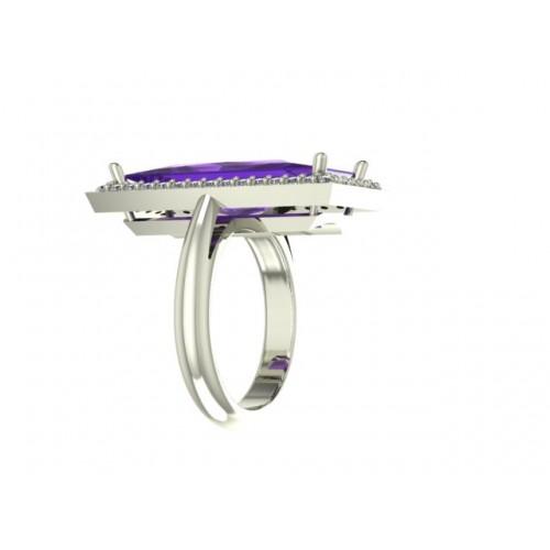 Anello con ametista ct 6,48 e diamanti carati 0,40 G-VS1