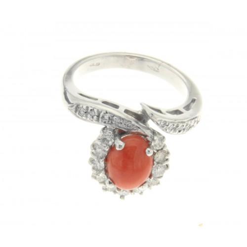 Anello corallo ct.1,68 diamanti ct.0,71 G-VS1