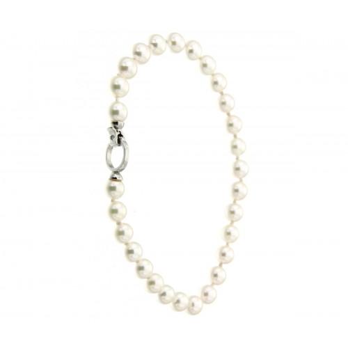 Bracciale di perle con diamanti carati 0,02 G-VS1