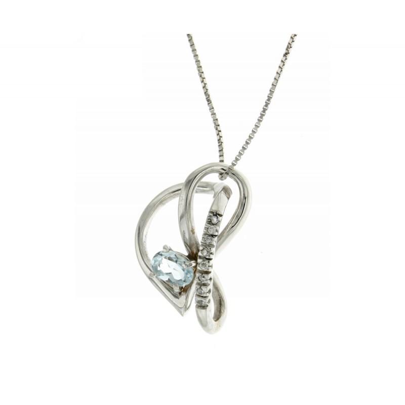 Collana acquamarina diamanti carati 0,04 G-VS1