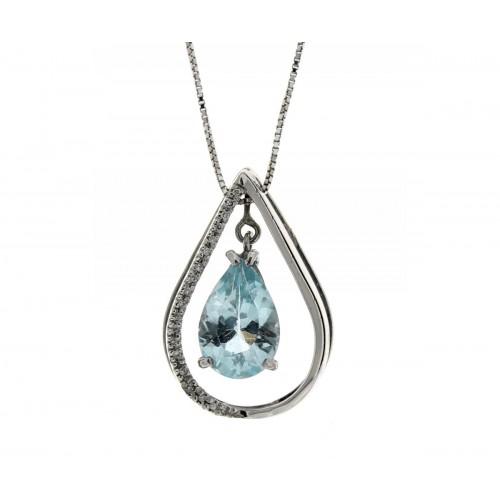 Collana acquamarina carati 3,00  diamanti carati 0,09 G-VS1