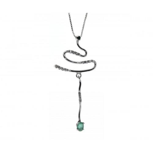 Collana con smeraldi carati 0,35 diamanti carati 0,06 G-VS1