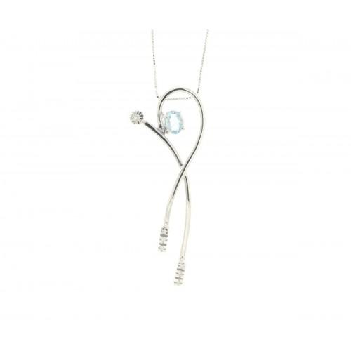 Collana acquamarina carati 0,42 diamanti carati 0,05 G-VVS1