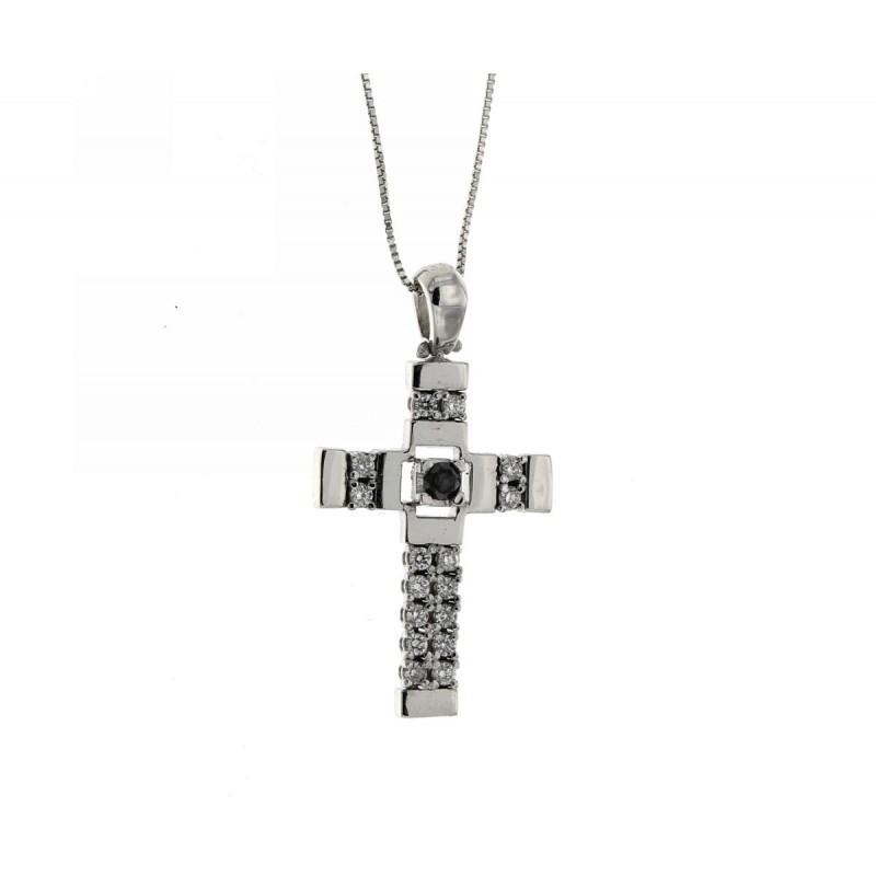 Collana croce con diamante nero e diamanti bianchi caratura 0,35 G-VS1