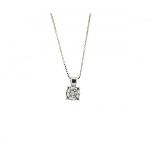 Collana punto luce con diamante ct. 0,14 G-VS1