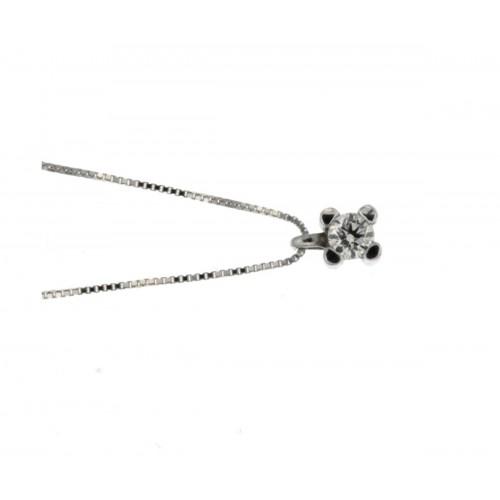 Collana punto luce con diamante carati 0,12 g-vs1
