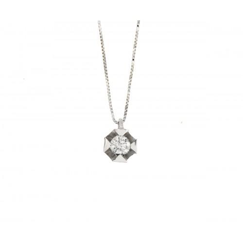 Collana  punto luce con diamante ct 0,10 G-VS1