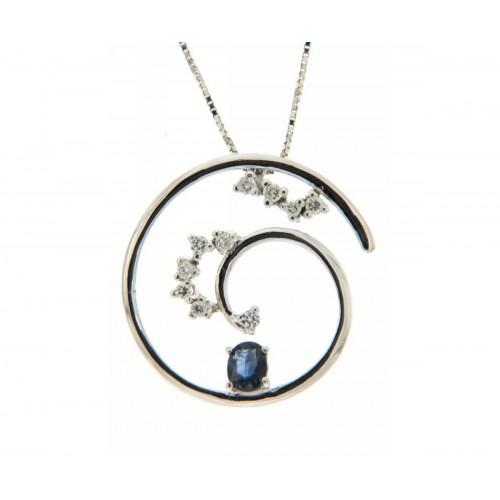 Collana zaffiro blu ct 0,31 diamanti carati 0,17 G-VS1