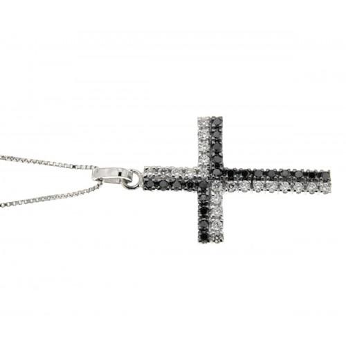 Collana croce diamanti neri e bianchi carati 0,40 G-VS1