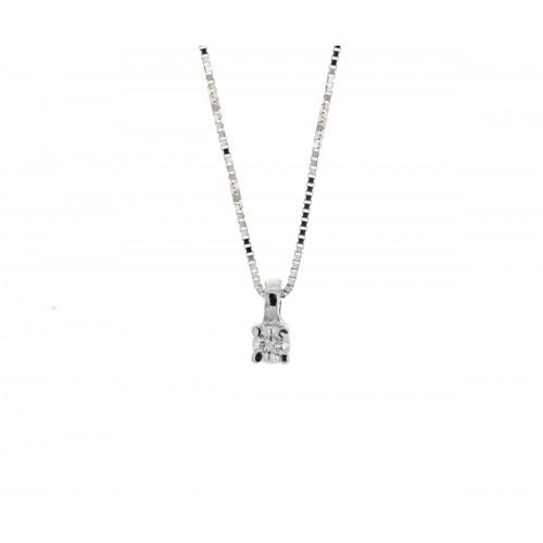 Girocollo punto luce bianco con diamante carati 0,05 G-VS1