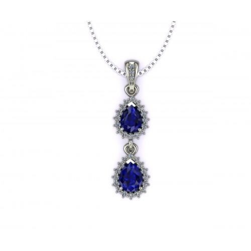Collana zaffiri blu a goccia ct 1.58 e diamanti ct. 0.20 g-vs1